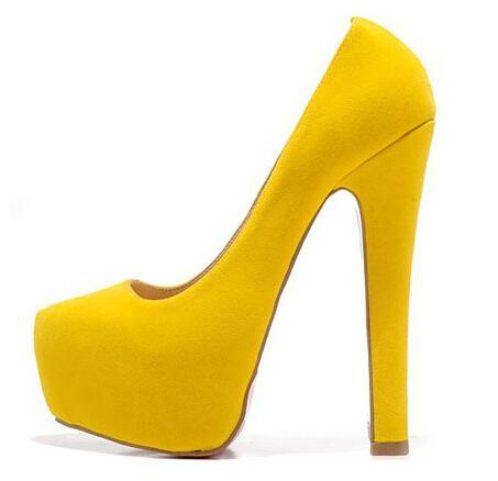 2015 new sexy women platform shoes 16cm genuine leather suede yellow high heels pumps ladies prom party shoes(China (Mainland))
