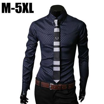 Мужчины рубашку с длинным рукавом camisa социальной masculina свободного покроя slim-подходят мужские клетчатые рубашки платье одежда camisas masculinas сорочка хомбре