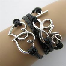 Infinity Love Heart Silver Charm Bracelet pulseira couro Women Black Leather Bracelet & Bangle 3pcs(China (Mainland))