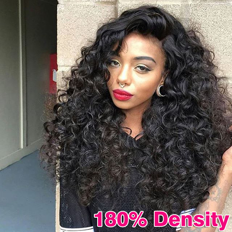180% Full Lace Human Hair Wigs For Black Women Brazilian Virgin Hair Wig Curly Lace Front Human Hair Wigs Glueless Wigs