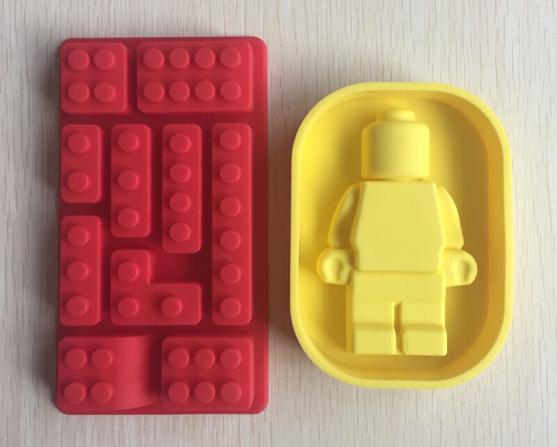 One Set Lego And Robot type Muffin Sweet Candy Jelly fondant Cake chocolate Mold Silicone tool Baking Pan-- B205(China (Mainland))