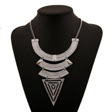 Ethnic Custom Geometric Triangle Maxi Necklace Ancient Gold Silver Retro Exaggerated Accessories Jewelry For Women Wholesale