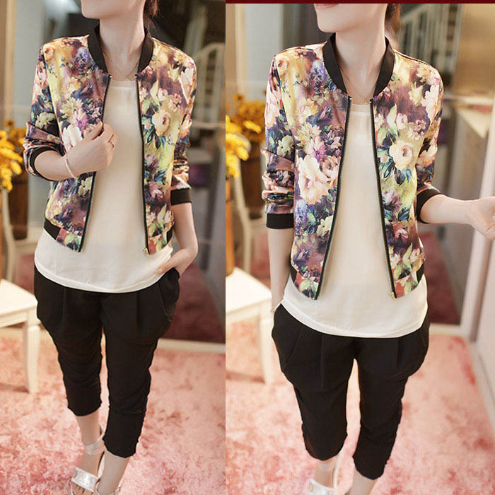 Gofuly 2015 New Excellent Style Women Stand Floral Printed Collar Long Sleeve Zipper Bomber Jacket Free Shipping(China (Mainland))