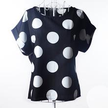 Women's Blouse Chiffon Plus Size Short Sleeve Black Polka Dot Print Blouses Women Fashion Casual Clothing S M L XL XXL Hot(China (Mainland))