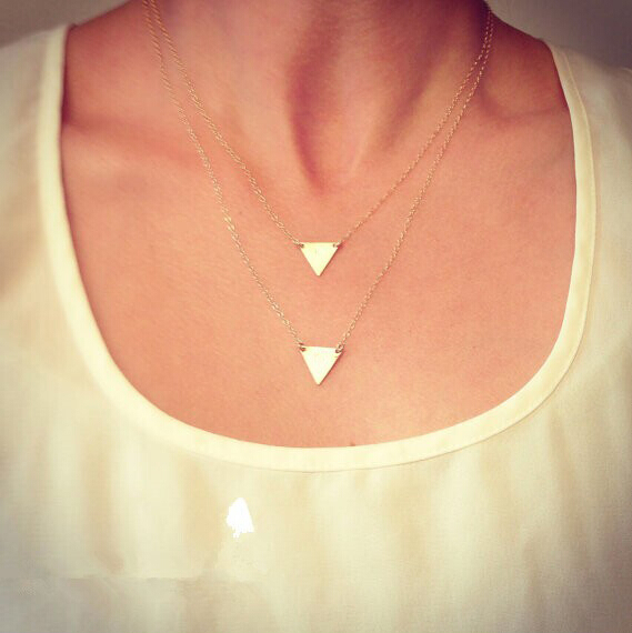 Star Jewelry Fashon Gold Plated Personality Two Triangle Double Chain Pendant Gold Plated Necklace For Women(China (Mainland))