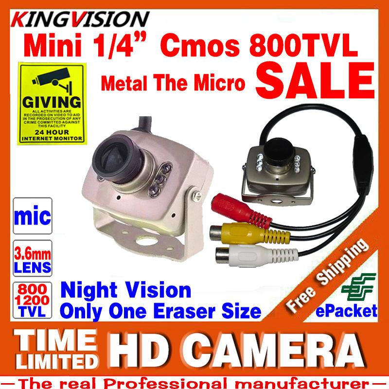 Mini HD 1/3cmos 800TVL Surveillance Home INDOOR Audio MIC Cctv Camera 6led Infrared Night Vision small Metal Analog Color Video(China (Mainland))