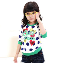 Girl bowknot dot autumn/spring t-shirt thick long sleeves cotton sweatershirt with cartoon bear pattern for 5-8Y kid girls