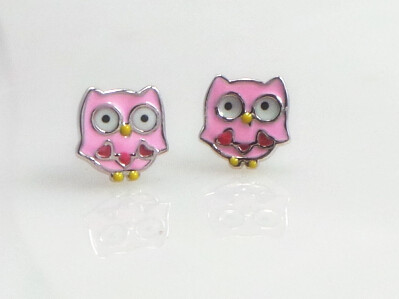 925 Sterling Silver Cute Little Pink Owl with Hearts Stud Earrings for kids/children(China (Mainland))