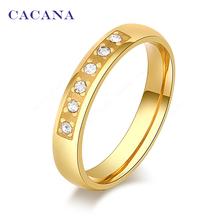 2016 CACANA Высокое качество кольца для женщин 18 К пять CZ с лепесток мода ювелирных изделий оптовая продажа нет. R65