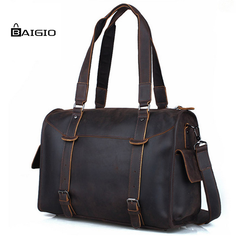 Baigio Mens Travel Bag Retro Dark Brown Overnight Tote Handbag Brand Designer Best Hand Luggage Crossbody Bag<br>
