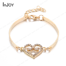 Free shipping gift bag Wholesale women czech rhinestones Double heart Bracelet 18k gold Plated fashion jewelry Accessories L116(China (Mainland))