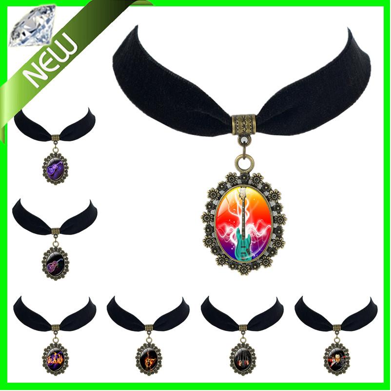 Unique Flame Design Guitar art pendant lucky amulet fashion jewelry men women Black Velvet Choker necklace best friend jewelry(China (Mainland))