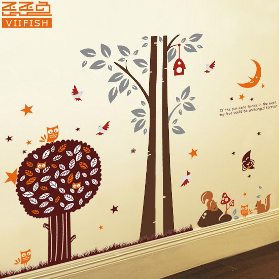 free shipping big tree wall stickers romantic night wall large tree wall decals trees decal nursery tree wall decals