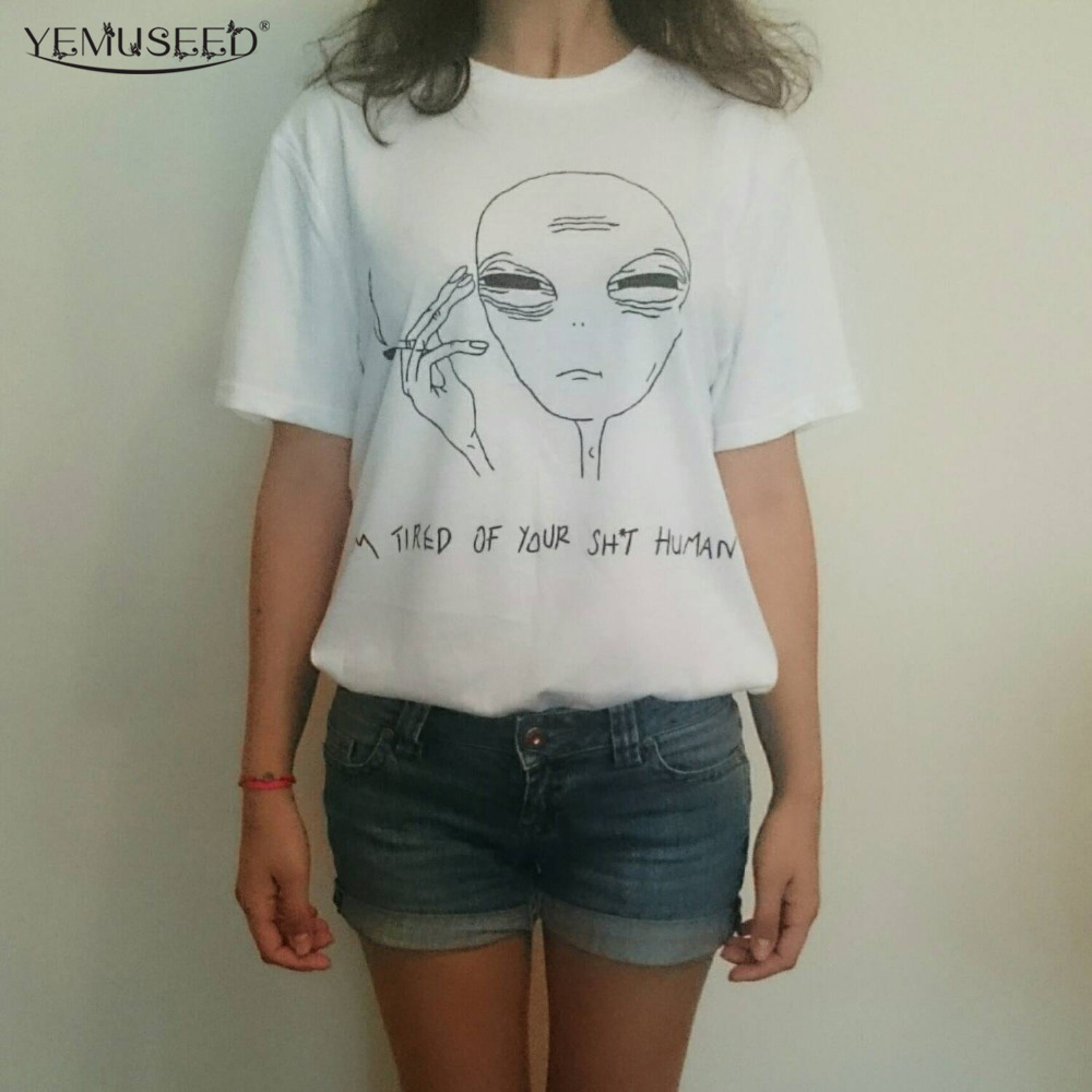 New Women Tshirt 18 Style Smoking Alien Print Funny Casual ET T-shirt Lady White Plus Size Top Tees Hipster