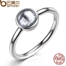 Buy BAMOER Elegant Glass 925 Sterling Silver Rings Poetic Droplet Clear CZ Finger Ring Women Fashion Wedding Jewelry PA7186 for $6.21 in AliExpress store