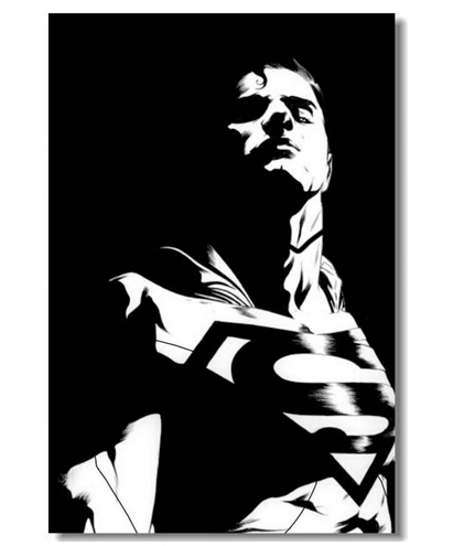 Removable Mural Home Decor Wall Sticker Make Your Horse Warm Custom Superman Man of Steel BlackBig 20x30 inch Print Poster