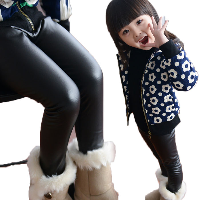 kid skinny black leather pants girl spring legging children pants kid legging girl pants child trousers fits 24M-6T(China (Mainland))