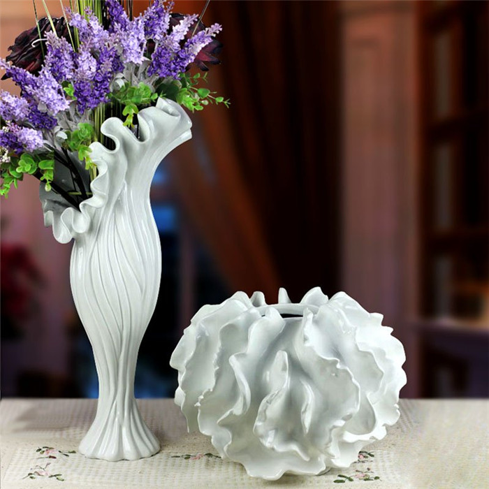 resin large white purple large flower vase sea style for modern home decorations(China (Mainland))