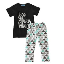Kids boy clothing set black summer 2017 Be Nice Man t shirt+pant kids clothes sets for girls boys fashion baby boys clothing set(China (Mainland))