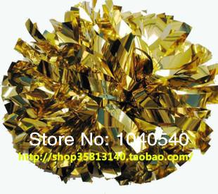 "cheerleading Pom poms 3/4""x 6""~custom color metallic turquoise and metallic gold handmade new hot sale mini order 10 pieces 0032(China (Mainland))"