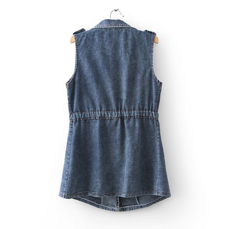 Wheat product library Y2-0424 spring new European suit collar sleeveless denim vest waist lace jacket(China (Mainland))