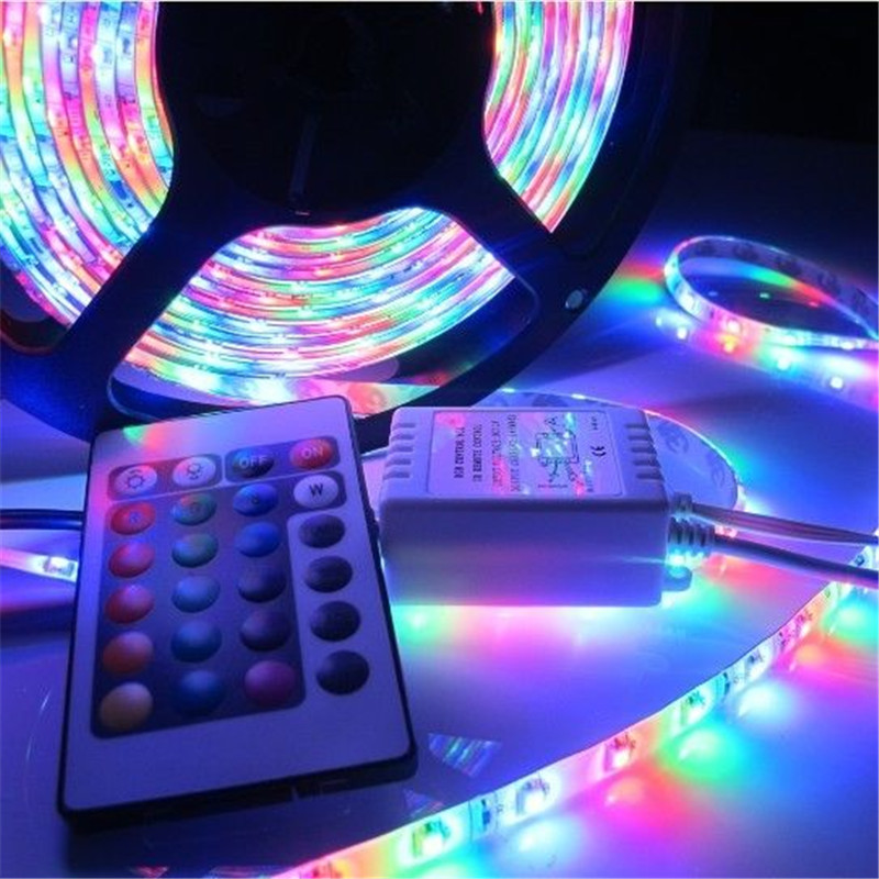 Гаджет  5M 3528 RGB LED Strip Waterproof IP65 DC12V 60LEDs/M SMD Strips Lighting with 24 Keys IR Remote Controller None Свет и освещение