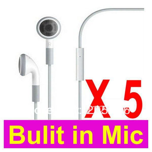 100% Brand New Hight Quality+LOT 5 5PCS Earphones Headphone Headset With Mic For Apple iPhone 4 4G 3GS 3G + Free Shipping(China (Mainland))