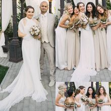 Ivory White Beach Wedding Dress 2016 Halter A-line Outdoor Chiffon Louisvuigon Mariage Bridal Gowns Cash On Delivery(China (Mainland))