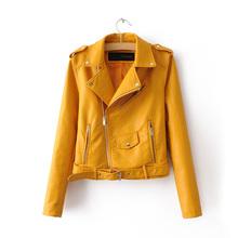 New Arrival 2016 brand Winter Autumn Motorcycle leather jackets yellow leather jacket women leather coat  slim PU jacket Leather(China (Mainland))