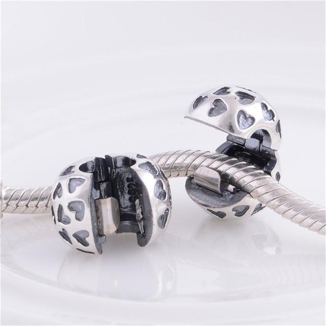 Оптовая продажа 925 серебряные ювелирные изделия бусины замок клип с любовью в форме сердца DIY ювелирных украшений Fit пандора оригинальный браслет