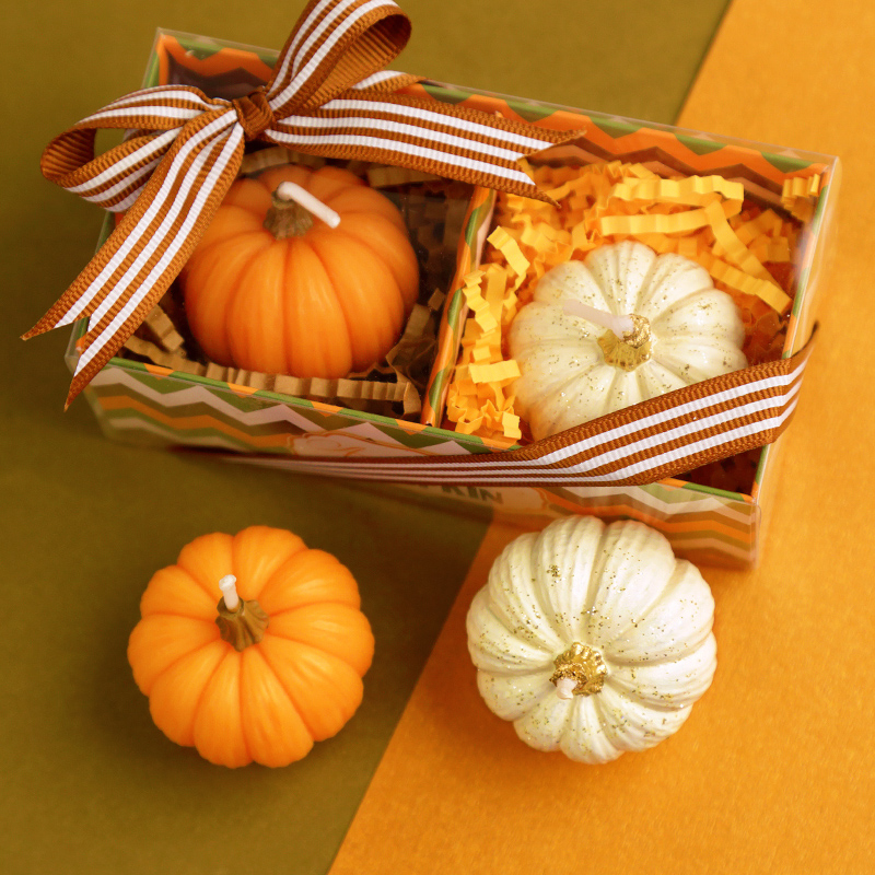 Harvest Thanksgiving Halloween party supplies creative pumpkin candle Bar Cafe atmosphere decoration Double pumpkin gift box(China (Mainland))