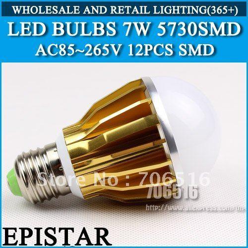 LED Bulbs 12 SMD5730 Epistar 7W 700lm Warm White/Cool White E27/E14/GU10 AC85-265V Free shipping/DHL