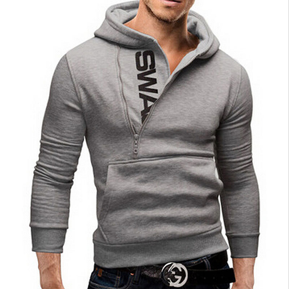SAF Menu0026#39;s Fashion Cardigan Napping Hoodies Grey Popular Zipper Design Fleece Hoodie Jacket Warm ...