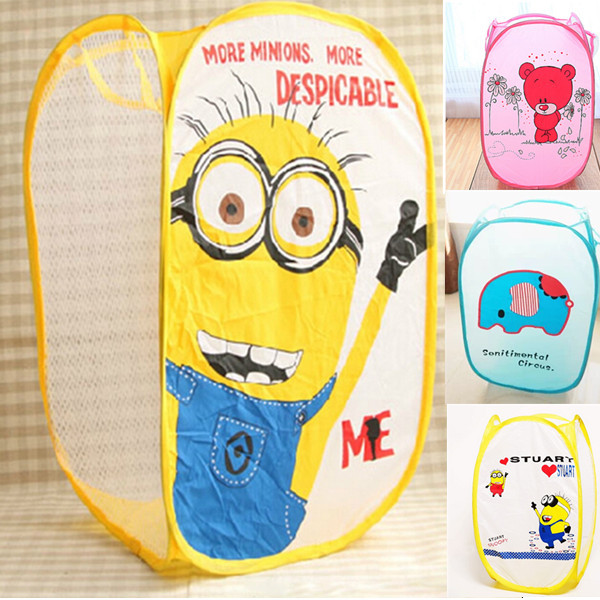 New Despicable Me Minions Cartoon Foldable Clothes Toy Laundry Baskets Bin Storage Bag Mesh Kid Child Gift(China (Mainland))