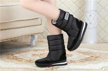 Mujeres de la manera de arranque mujeres impermeables de invierno de mitad de la pantorrilla botas de nieve planas de los talones botas de invierno de nieve caliente zapatos de mujer 9 colores de gran tamaño(China (Mainland))