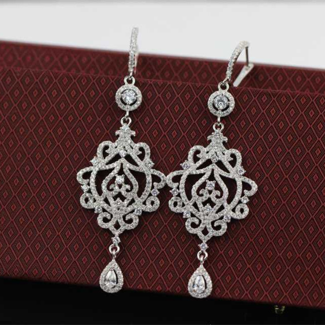 Cross with butterfly 925 Sterling Silver Wedding Party  Earrings  Ice crystals  flower High Quality Jewelry Drop Earrings XB68<br><br>Aliexpress