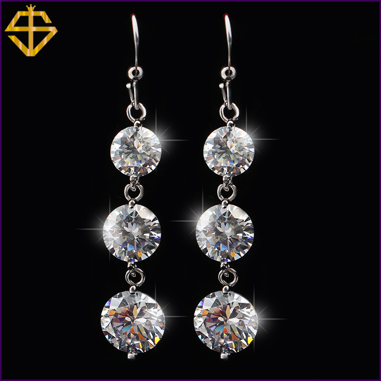 SI Hot Sale 2015 Fashion Jewelry Elegant Channel Earring Platinum Plated With SWA ELEMENTS Austrian CZ Drop Earrings For Women(China (Mainland))