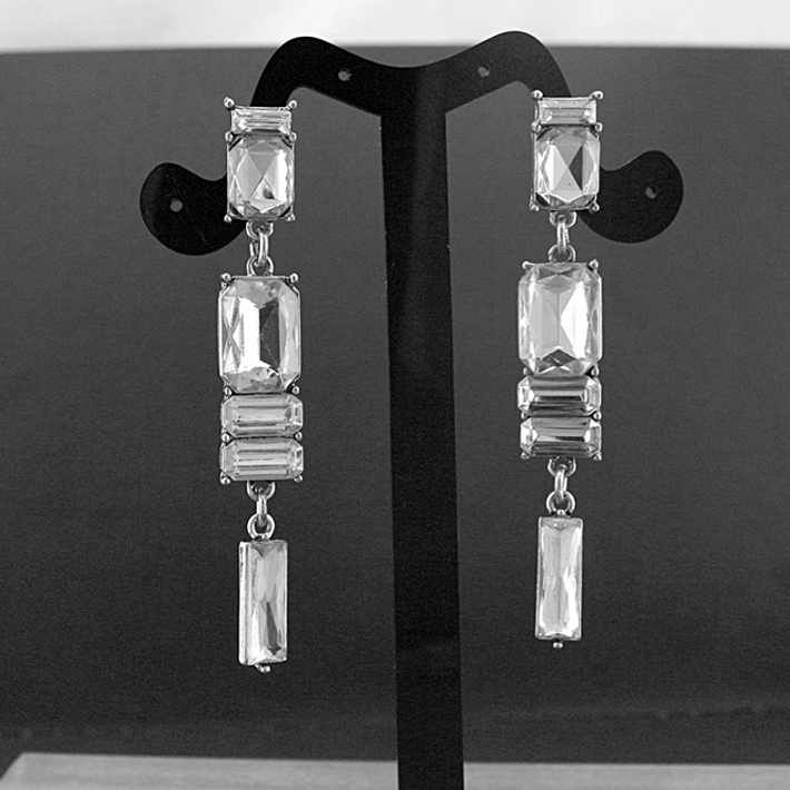 Medieval Temperament luxury queen Elizabeth birthday bride crystal square stone with burnishing silver casting earring(China (Mainland))