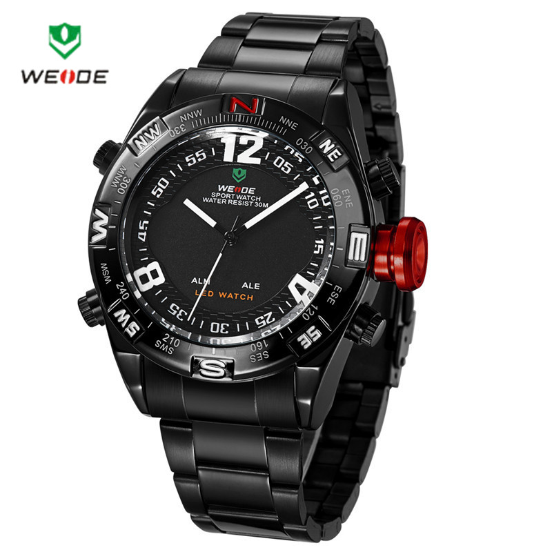 2016Weide 2310 Unisex Round Dual-movement 30m Waterproof LED Sports Watch with Stainless Steel Band for Men(China (Mainland))