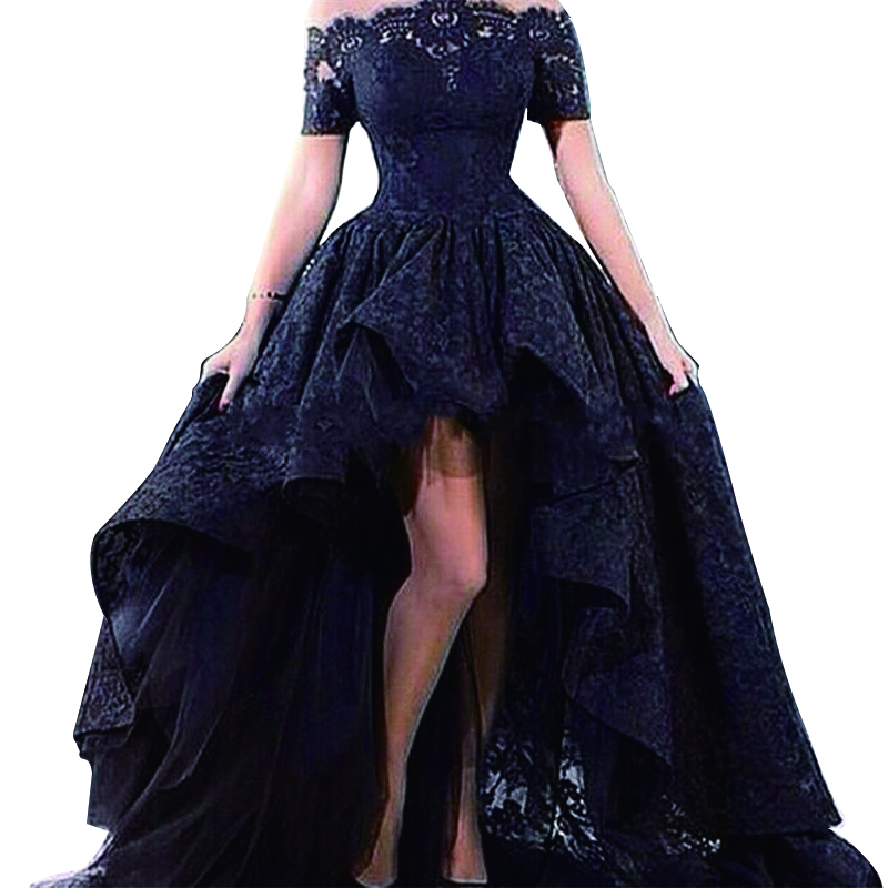 Arabic Evening Dresses Elegant High Low Evening Dresses 2016 Black Lace Short Front Long Back Prom Party Gowns black prom dress(China (Mainland))