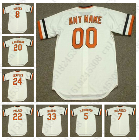 JIM PALMER DEMPSEY FRANK ROBINSON CAL RIPKEN BROOKS ROBINSON EARL WEAVER MARK BELANGER EDDIE MURRAY jersey Mens Stitched jerseys(China (Mainland))