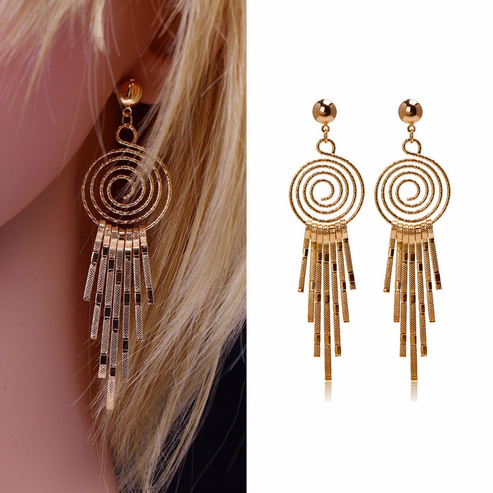 Fashion Big Earrings For Women 2015 18K Gold Plated Drop Earrings Women Earrings Women Jewerly Earring Girl Gift Bijoux Femme(China (Mainland))