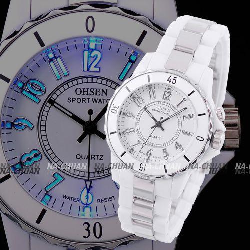 Fashion OHSEN 7 Color LED Backlight Rotate Bezel Women Lady White Round Dial Analog Quartz Sport Children Analog Watch / OHS001(China (Mainland))
