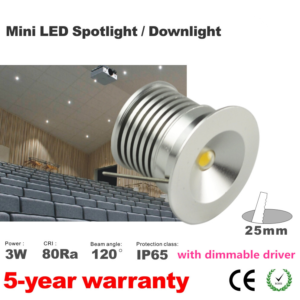 12pcs Mini led epistar chips downlight 3W cabinet lamp IP65 warm white include party light 90D 25mm with dimming driver<br><br>Aliexpress