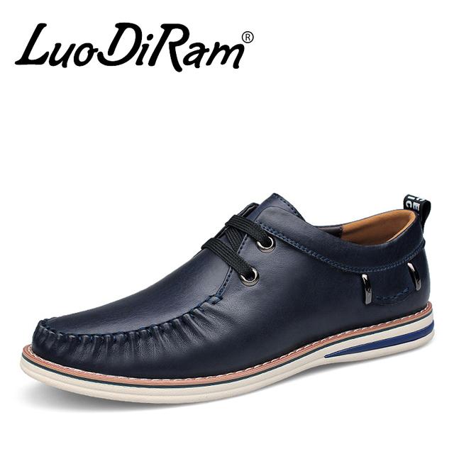 LuoDiRam Марка 2016 Новая Мода Натуральная Кожа Мужчины Обувь, люксовый Бренд Высокого ...