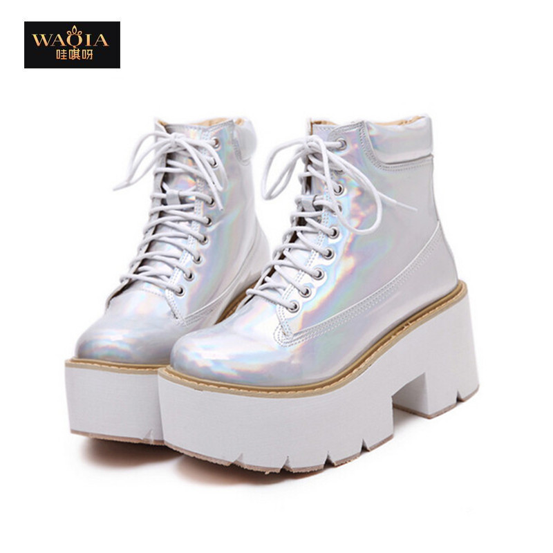 2015 PU Material Ankle boots Women Sponge Thick Bottom Platform Boots Lace Round toe Silver Color Size 35-39