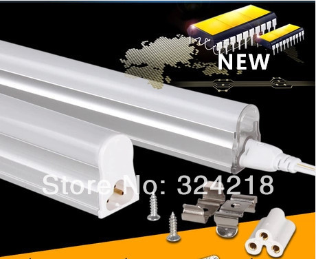 LED Integrated Tube T5 300mm 5W 6W SMD3014 AC85-260V to replace fluorescent tubes 20W Free shipping 25pcs / lot(China (Mainland))
