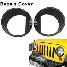 Car Headlight Trim Bezels Cover Left Right Auto Eyebrow Eyelid Head Lamp Ring Hoods For Jeep Wrangler JK Unlimited(China (Mainland))
