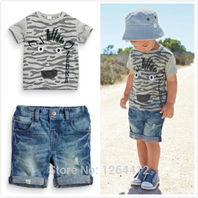 Hot 2016 New summer Kids Boy clothes cowboy suit short-sleeved T-shirt + jeans 2pcs children clothing set Free Shipping(China (Mainland))