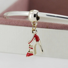 European 1pc Golden High-Heeled Shoes Pendant Silver Bead Charm Fit Pandora Women DIY Bracelets & Bangles Jewelry YW15642
